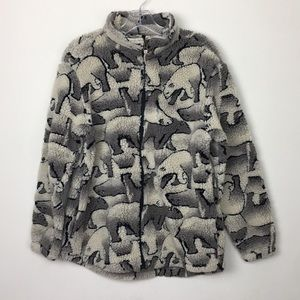 Vintage Woolrich Polar Bear Zip Sherpa Teddy Coat